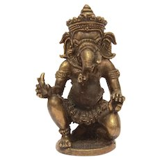 "Miniature Ganesh Statue, Hindu Elephant God 2 3/8"" Sculpture"