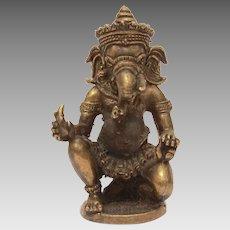 "Miniature Ganesh Statue, Hindu Elephant God 2 3/8"" Sculpture"