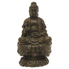 Buddha Statue, Miniature Bronze or Brass Zen Buddhist Sculpture