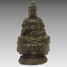 Buddha Statue, Miniature Bronze or Brass Zen Buddhist Sculpture