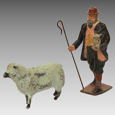 Britains Painted Lead Shepherd, Movable Arm with Crook, Sheep Farm Figures