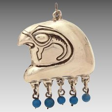 Sterling Egyptian Revival Pendant Horus, Falcon Head with Blue Bead Dangles