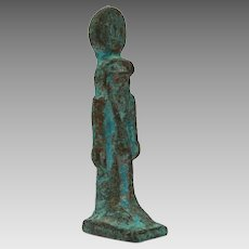 "Bronze Horus Statue, 2 1/4"" Miniature Egyptian Statuette with Blue Patina"
