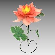 Painted Tin & Copper Folk Art Lotus Flower Sculpture, Shabby Pink Flower Decoration