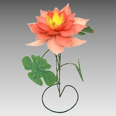 Painted Tin & Copper Folk Art Lotus Flower Sculpture, Shabby Pink Flower Decoration