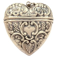 "Sterling Victorian Revival Puffy Heart Locket Box Pendant 1.75"", Valentine"
