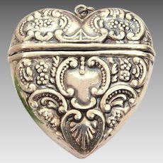 Sterling Victorian Revival Puffy Heart Locket Box Pendant