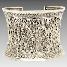 Wide Ethnic Sterling Cuff Bracelet, Highly Ornate Pierced Repousse Design