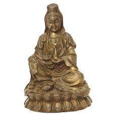 Small Chinese Tibetan Bronze Guan Yin Statue, Zen Buddhism Lotus Position, Brass