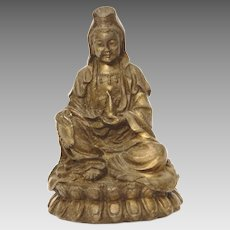 Small Chinese Tibetan Bronze Guan Yin Statue, Zen Buddhism Lotus Position, Brass