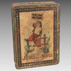 Antique Tin Litho Calleja Box, Joyas Para Niños, Casa Editorial Madrid Spain, Jewels for Children
