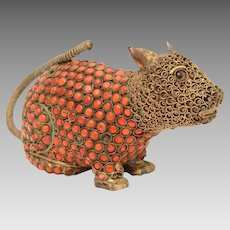 Nepal Brass & Glass Coral Mouse or Rat Sculpture, Nepalese Tibet Rodent Figure