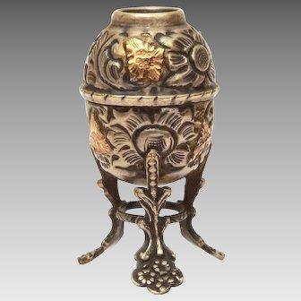 Miniature Alpaca Yerba Mate Cup or Mug, Hand Made Repousse South America Souvenir