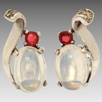 Sterling Trifari Earrings, Alfred Philippe Design, Jelly Belly Moonstone