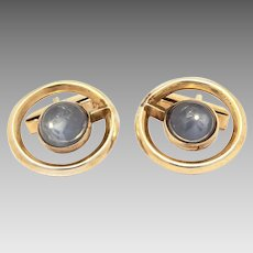 Mid-Century Cufflinks Celia Sterling Mexico, Gilded with Gray Stones