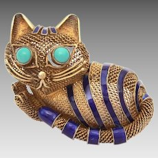 Chinese Silver Filigree Cat Pin, Blue Enamel Stripes, Persian Turquoise Eyes, Sterling