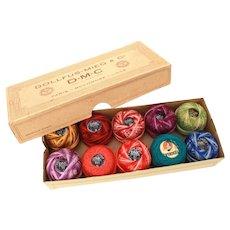 DMC 8 Cotton Pearl Thread, 10 Unused Spools in Variegated Colors, Original Box