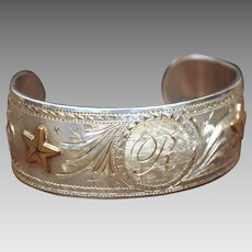 Signed Sterling Cuff Bracelet Western Style Hand Engraved Initial R, Texas Stars