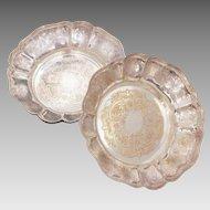 Barker Ellis 2 Silverplate Bowls, Menorah Hallmark, Ellis Barker England Silverplated Dishes