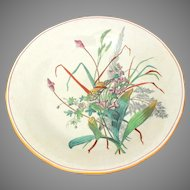 """WT Copeland & Son Butterfly in Wildflowers, Victorian Aesthetic Hand Painted Transferware 10"""" Footed Dish"""
