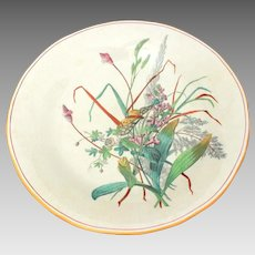 "WT Copeland & Son Butterfly in Wildflowers, Victorian Aesthetic Hand Painted Transferware 10"" Footed Dish"