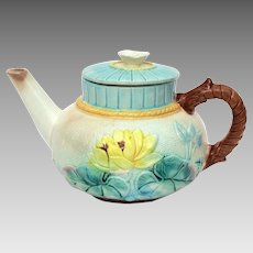 Antique Majolica Teapot with yellow Lotus, Water Lily, Victorian Japonesque