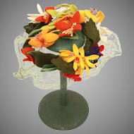 Mr. John Caprice Small Hat with Felt Flowers, Mesh, & Velvet