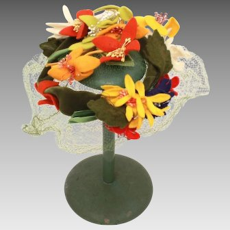 Mr. John Caprice Small Hat with Felt Flowers, Mesh, & Velvet