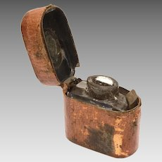 Antique Leather Traveling Inkwell with Side Latch & Glass Insert