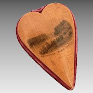 Mauchline Ware Heart Pincushion, Leeds Town Hall & Roundhay Park, Antique Treen