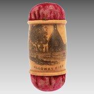 Antique Mauchline Ware Scotland Emery Needle Sharpener & Pincushion, Alloway Kirk