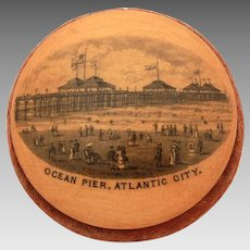 Antique American Mauchline Pincushion, Ocean Pier Atlantic City New Jersey Shore Beach Scene