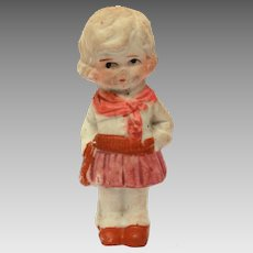 1930s Cowgirl Bisque Penny Doll, Frozen Charlotte Style, Made in Japan