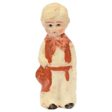 1930s Cowboy in Chaps Bisque Penny Doll, Frozen Charlotte Style, Made in Japan
