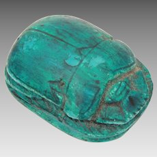 Ancient Egyptian Blue Faience Scarab with Small Detailed Hieroglyphs