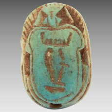 Ancient Egypt Faience Scarab with Hieroglyphs on Beetle Back, King Tut Era