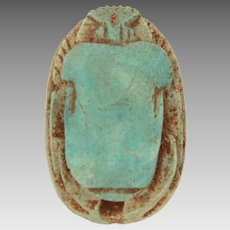 Ancient Egyptian Blue Faience Scarab with Hieroglyphs, Egypt Beetle