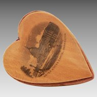Antique Mauchline Heart Pincushion Souvenir Washington DC Capitol Building