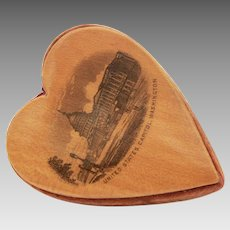 Antique Mauchline Heart Pincushion Souvenir Washington DC Capitol Building