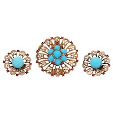 Trifari Sterling Fur Clip & Earrings, Turquoise and Ruby Red Rhinestones Pin