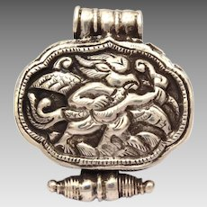 Tibetan Sterling Ghau Prayer Box Pendant, Repousse Silver Tibet Gau, Buddhist Relic Locket