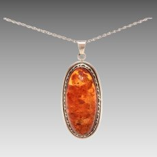 Sterling Genuine Amber Cabochon Necklace