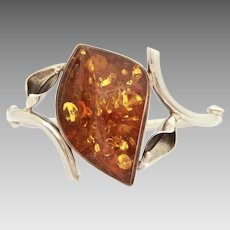 Sun Spangle Amber Sterling Hinged Cuff Bracelet with Calla Lily Flowers