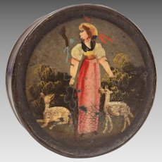 Antique Snuff Box, Paper Mache with Painting of Shepherdess & Sheep