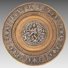 Hindu God Sterling Repousse on Brass Wall Plate, Shiva Nataraja, Tandavam Dance