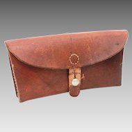 1964 Swiss Army Leather Ammo Pouch, Military Belt Bag