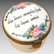 Porcelain Limoges Hand painted Trinket Box, Hinged Lid, French Saying, Bon Amis