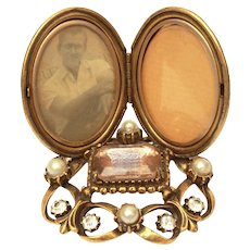 Florenza Locket Photo Frame with Pink Emerald Cut Rhinestone & Costume Pearls
