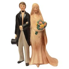 Wedding Cake Topper Germany, Ceramic 1920 Bride & Groom, Bridal Figurine