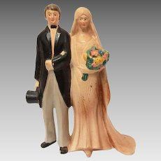 Wedding Cake Topper Germany, Ceramic 1920 Bride & Groom, Bridal Figurine